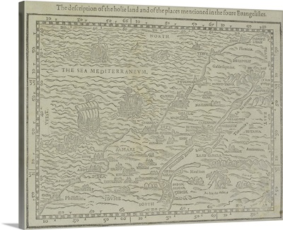 Antique map of the holy land from Geneva Bible