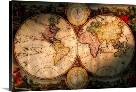 Antique World Map Wall Art Canvas Prints Framed Prints Wall Peels - Antique world map picture