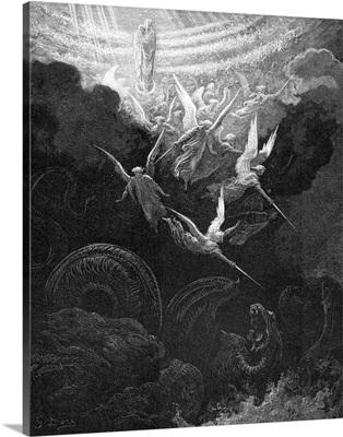 Archangel Michael fighting the dragon