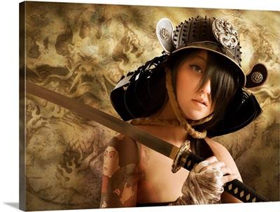 Asian woman dressed as samurai