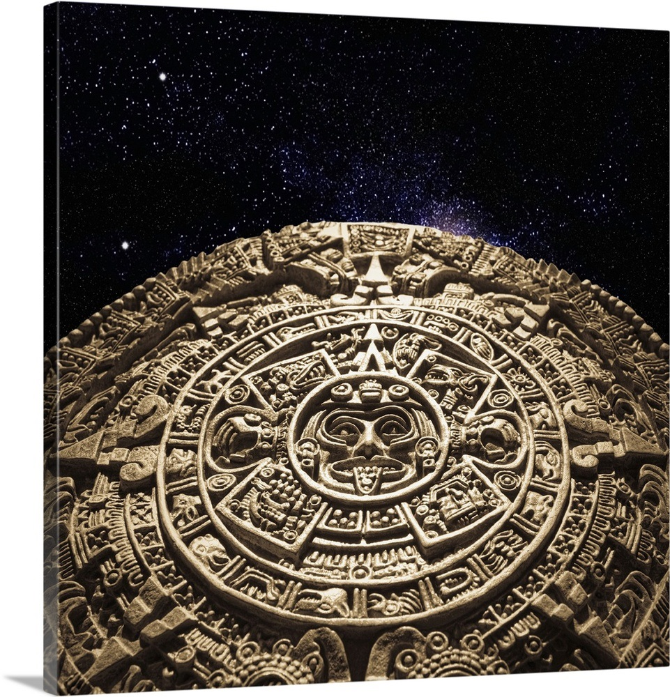 Aztec calendar stone carving in space wall art canvas prints