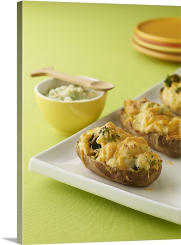 Baked Potato with Broccoli and Bowl of Baby Food Wall Art, Canvas ...