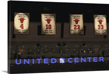 Banners honoring former members of the Chicago Bulls