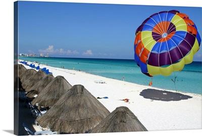 Beach and parasailing parachute, Hotel Zone, Cancun, Mexico