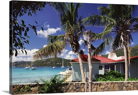 Beach Huts On The Coast Of Tortola British Virgin Islands Caribbean