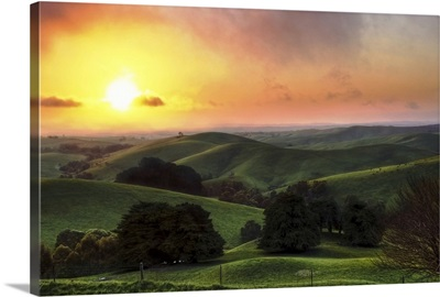 Beautiful rolling green hills of South Gippsland in Victoria, Australia are idyllic.