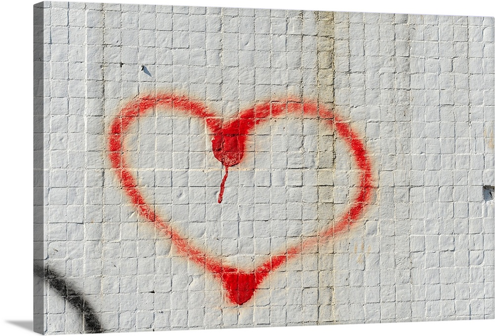 LARGE RED HEART LOVE GRAFFITTI PAINTING WALL HANGING A1