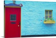 Blue building with red door, Ireland