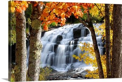 Bond Falls dressed in Autumn colors Paulding Michigan.