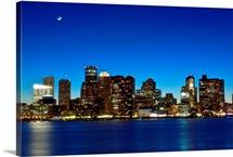 Boston skyline with moon.