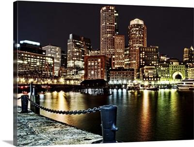 Boston Waterfront at night, Massachusetts