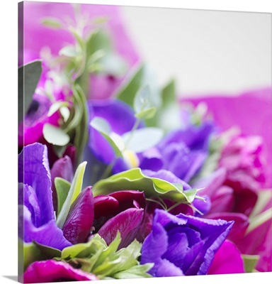 Bouquet of blue and violet flowers