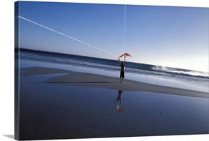 boy flying kite at beach wall art canvas prints framed