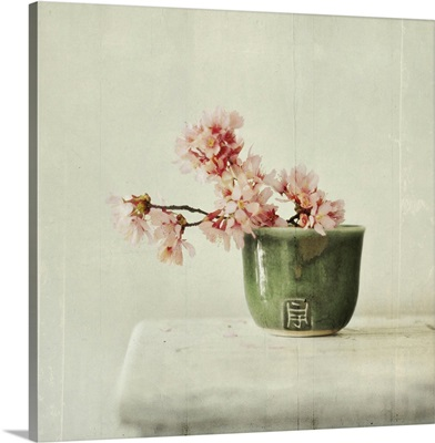 Branch of cherry blossoms sit in green tea bowl on white table.