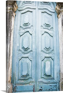 Brazil, Bahia, Salvador De Bahia, Close up on blue carving door