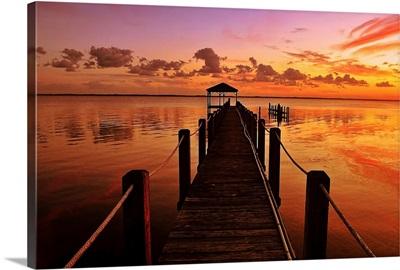 Bridge at sunset in sound at Duck, North Carolina.