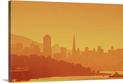 Bright San Francisco sunset.