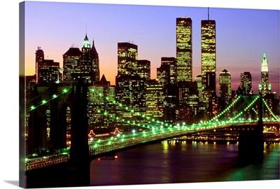 Brooklyn Bridge and Manhattan skyline at dusk, New York