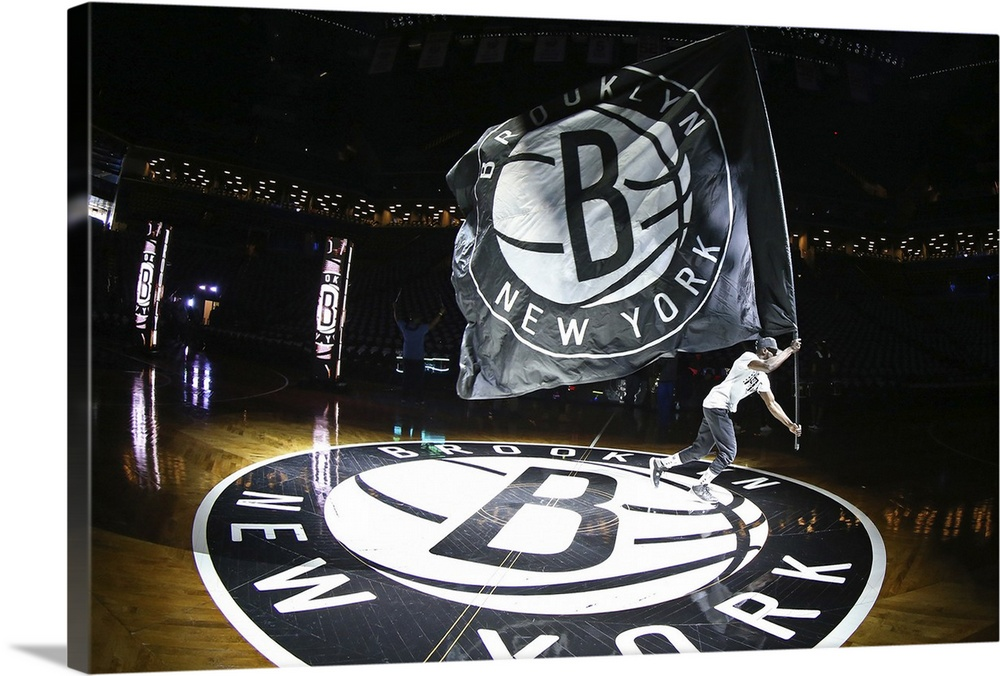 Brooklyn Nets Flag And Logo In The Arean Wall Art Canvas Prints Framed Prints Wall Peels Great Big Canvas