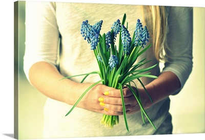 Bunch of spring blue muscari in young woman hands.