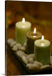 Candles with stones