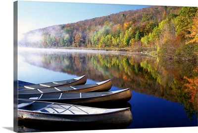 Canoes On A Rural Lake
