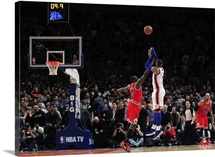 Carmelo Anthony of the New York Knicks shoots the game winning three pointer