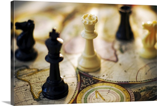 Chess pieces on old world map Wall Art, Canvas Prints, Framed Prints ...