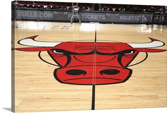 Chicago Bulls Logo On The Court Wall Art Canvas Prints Framed