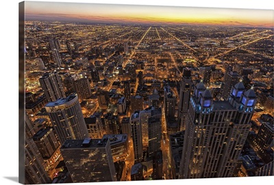 Chicago downtown at sunset.