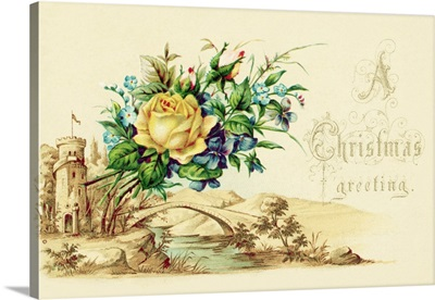 Christmas Card With A Bouquet Of Flowers And A Pastoral Setting