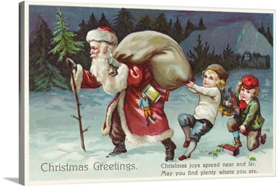 Christmas Greetings Postcard With Santa Claus And Two Children