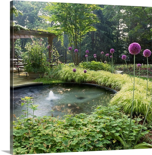 Circular pond with fountain in backyard Wall Art, Canvas Prints ...