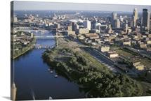 City next to a river, Minneapolis, Minnesota