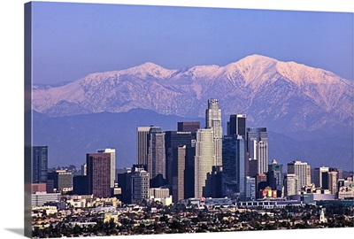 Cityscape view of Los Angeles winter time.