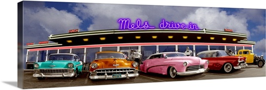 Classic Cars Outside Drive In Diner Usa Wall Art Canvas Prints