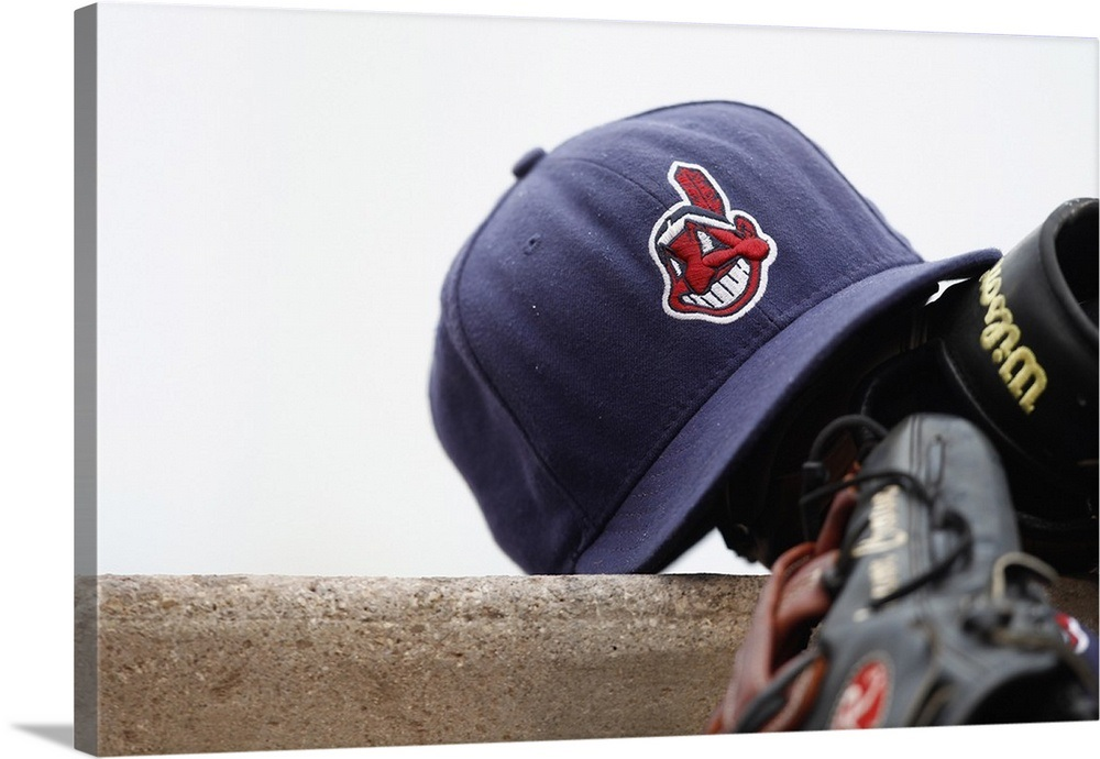 f8e6f598819 Cleveland Indians hat and glove on the dugout steps Wall Art