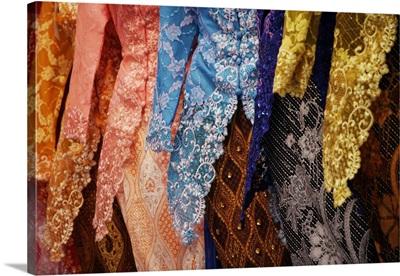 Close up of a baju kebaya, traditional Malay dress for woman.