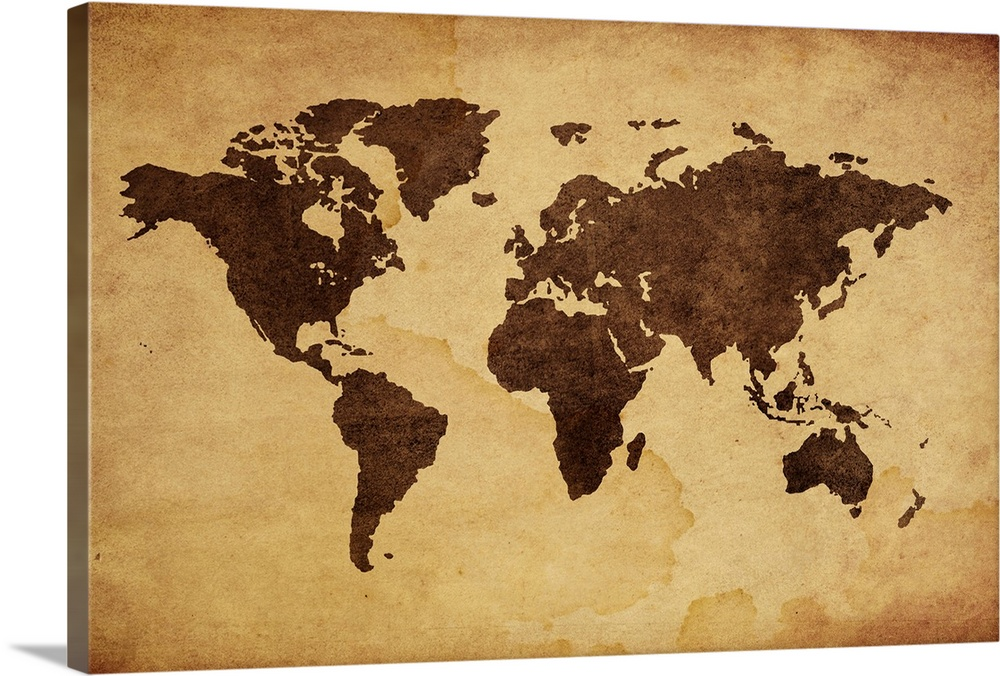Close up of antique world map Wall Art Canvas Prints Framed