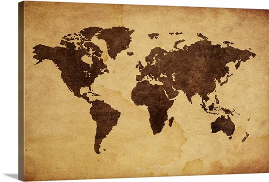 Close Up Of Antique World Map Wall Art Canvas Prints Framed - World map canvas