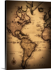 Close Up Of Antique World Map Wall Art Canvas Prints