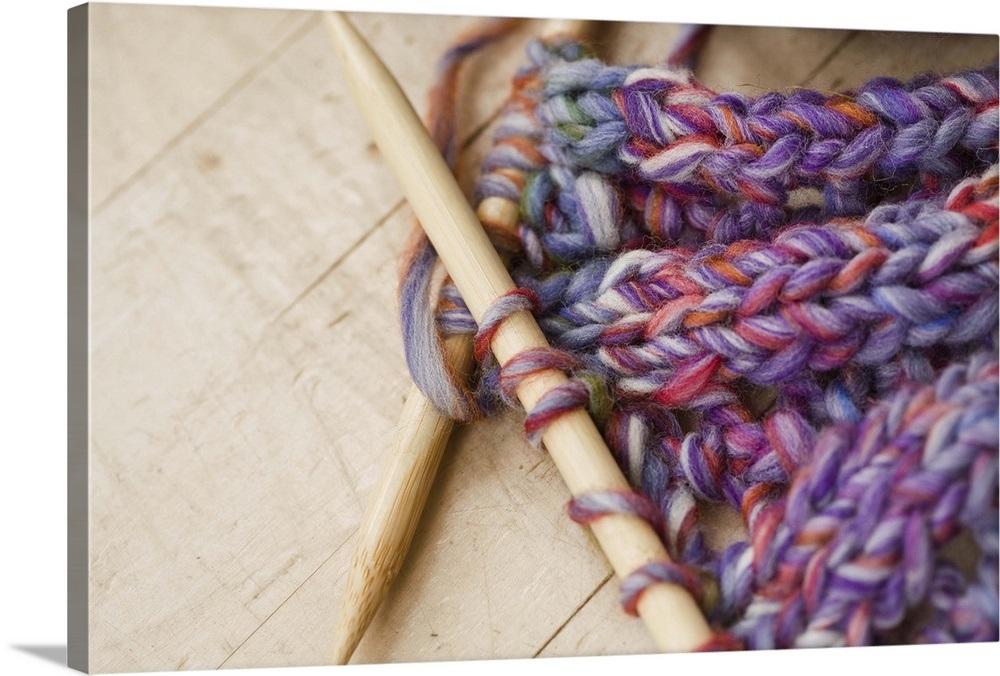 fa66d91bc Close up of knitting needles and yarn Wall Art