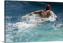 Close up of man swimming