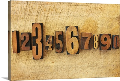 Close up of numbers on letterpress