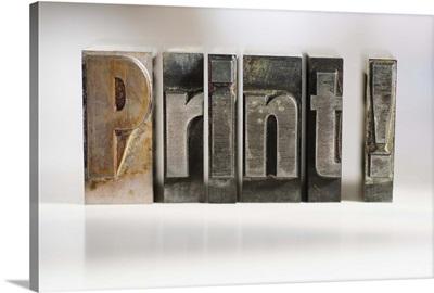 Close up of single word made of printing blocks