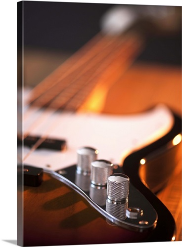 Close Up Of Volume Knobs Bass Guitar Canvas