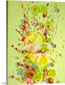 Cocktail and fruit against splatterd background