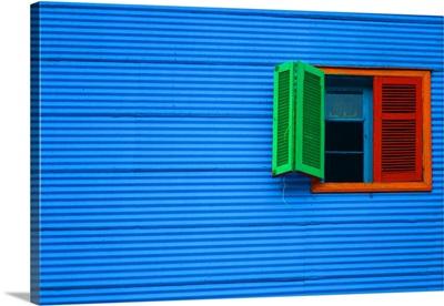 Colored shutters in La Boca, Buenos Aires, Argentina