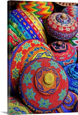 Colorful baskets made from colored plastic beads , Ubud market