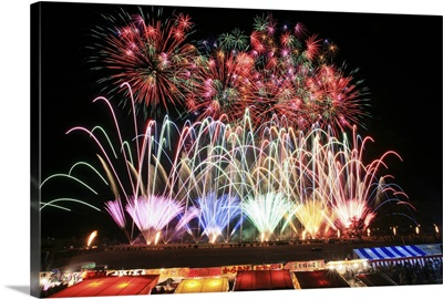 Colorful Fireworks Over the Food Stalls